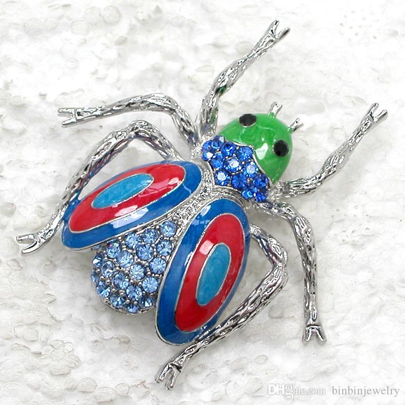 Partihandel Crystal Rhinestone Enameling Beetle Broscher Mode Insekter Pin Brosch Smycken Gift C989