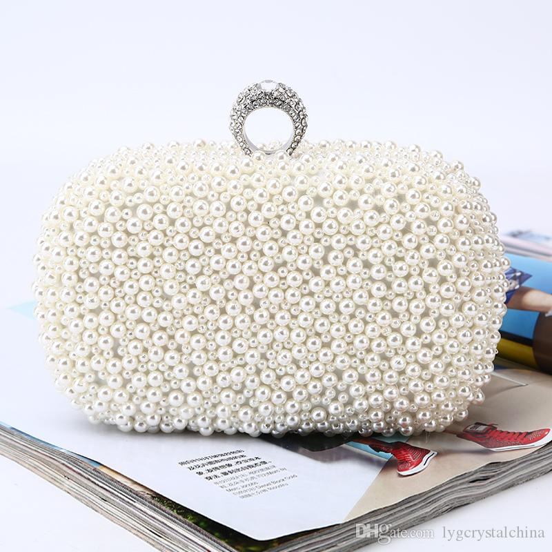 Pearl handbag bags Pure manual Handmade beaded cultch collocation matching the evening dress for bridal and lady wear handbag lady bag