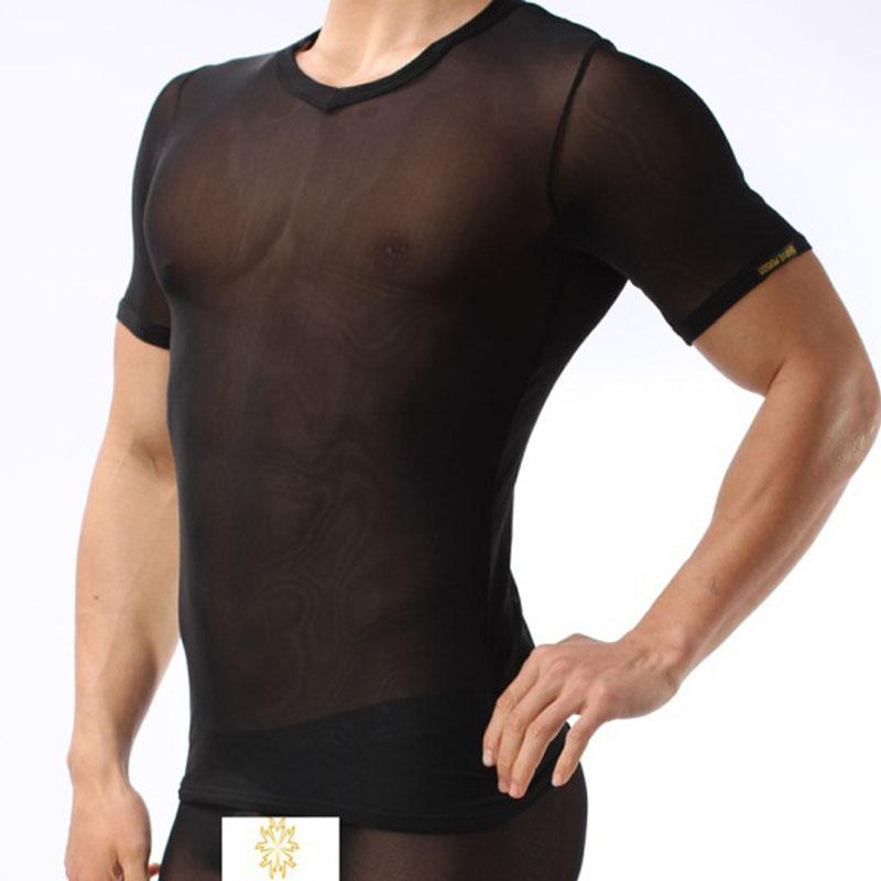 BRAVE PERSON sexy mesh Lace Sheer transparent T shirts Tops men Nyon underwear