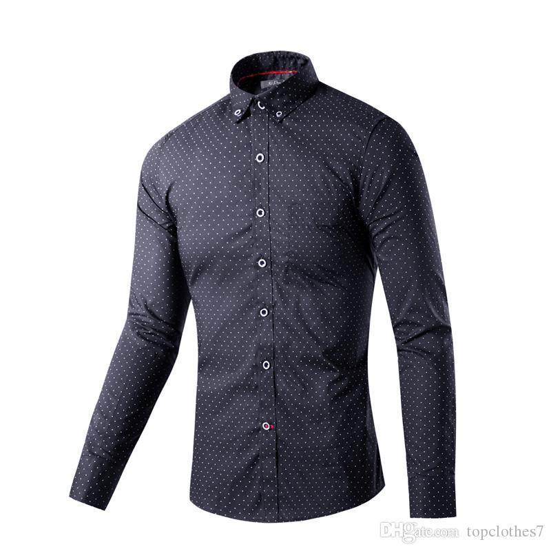 Горячие продажа рубашки Мужские горячие продажа роскошные стильный повседневная дизайнер платье горошек рубашка мышцы подходят рубашки 2 colo