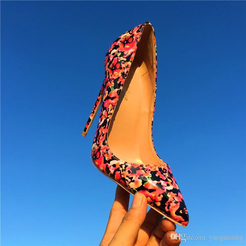 Nuevos zapatos de tacón alto con flores de tacón fino, florales rojos, 12 cm. Zapatos de tacón alto con tacón alto, de moda, con tacón T, para mujer, personalizados 33-44
