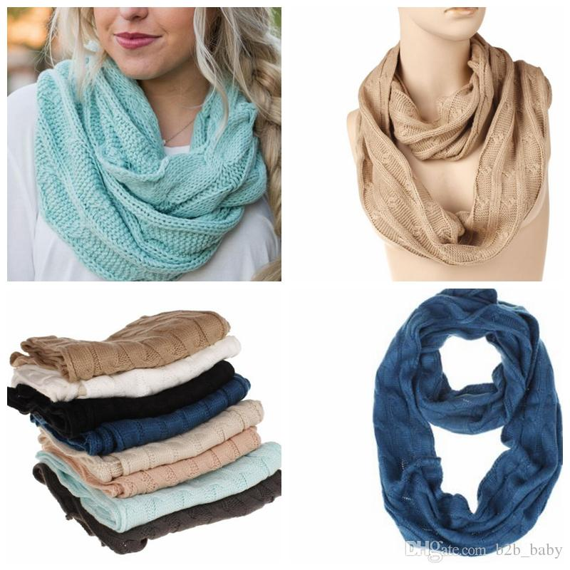 7 cores Inverno Cachecol Para Meninas Mulheres Acrílico Círculo Quente Loop Cachecol Pescoço Cachecol Confortável Cor Sólida Lenços Quentes KKA5902