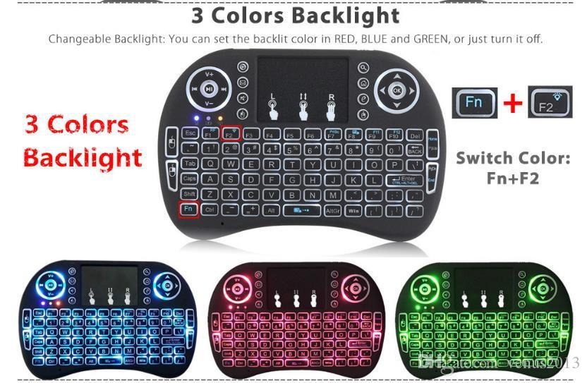 I8 sem fio backlit keyboard teclado com bateria de lítio backlight led air mouse remoto para mxq pro x96 t95 m8 android caixa