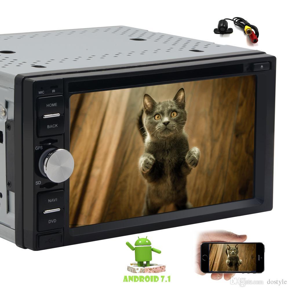 Cámara + 6.2 '' Doble 2 Din Car DVD CD Video Player Bluetooth Android 7.1 Navegación GPS Digital Multitouch Screen Car Stereo System Autoradio