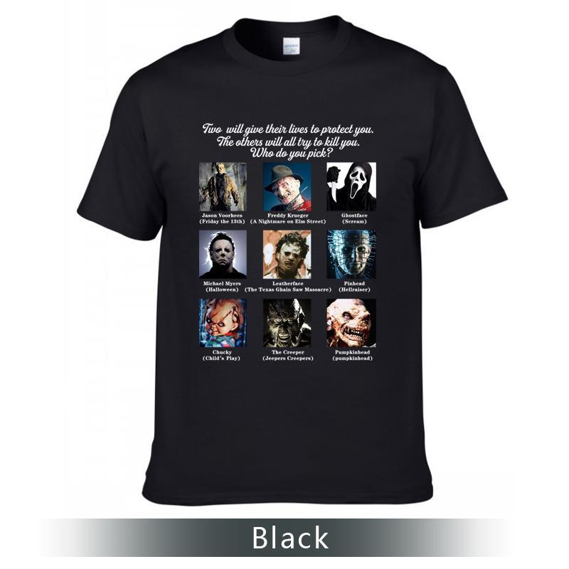 Super Cool Bedruckte T-Shirt, Horror-Film-Rollen-T-Shirt, Rundhals Baumwolle T-Shirts.