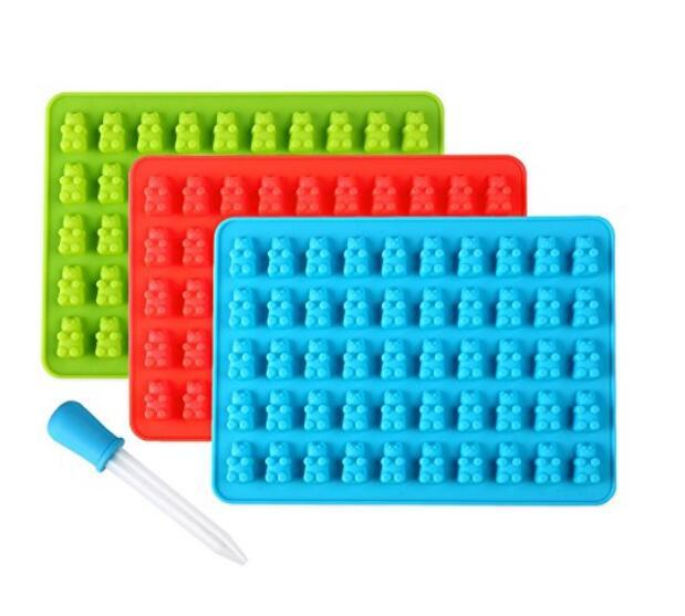 30/set Cavity Gummy Bears Candy Chocolate Silicone Mold Ice Cube Tray Baking Mold Fondant Cake Decorating Tool with Dropper