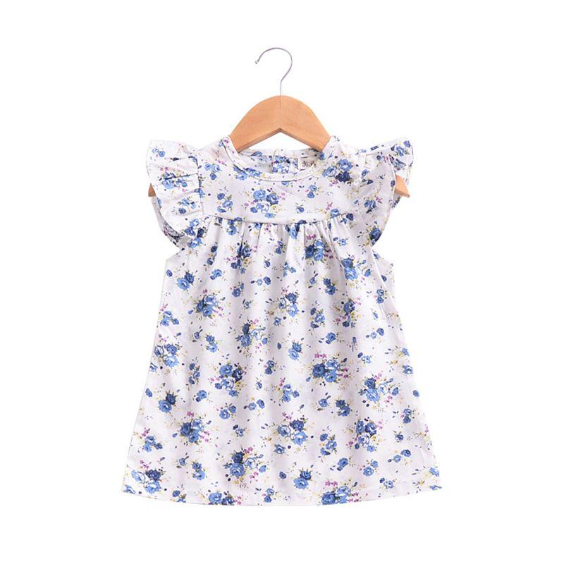 Mãe ninho 2018 verão novas meninas flor sopro mangas dress algodão crianças roupa dos miúdos da criança do bebê de aniversário crianças vestidos