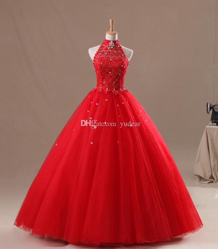 Einfache Ballkleid Red Halter Quinceanera Kleider High Neck Korsett zurück schiere Ausschnitt Illusion Appliques Prom Kleider bodenlangen Sweet 15 Hot
