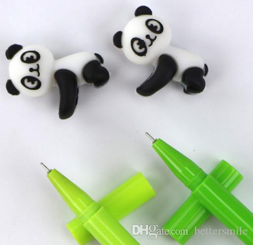 Best selling cartoon gel pens free shippingSmallVCartoon panda plastic creative bamboo pen 100pcs\lot Black 0.5mm 196