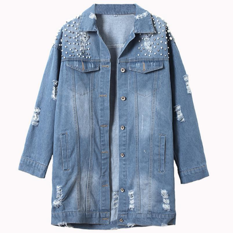 Бисером джинсовая куртка женский новый свободный БФ длинное пальто куртка