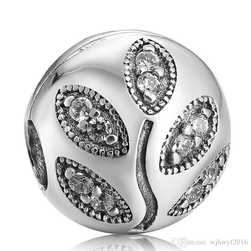 New Leaves Clip Charms Beads 925 Sterling Silver Clear Crystal Leaf Stopper Lock Bead For Jewelry Making DIY Brand Bracelets Accessorie