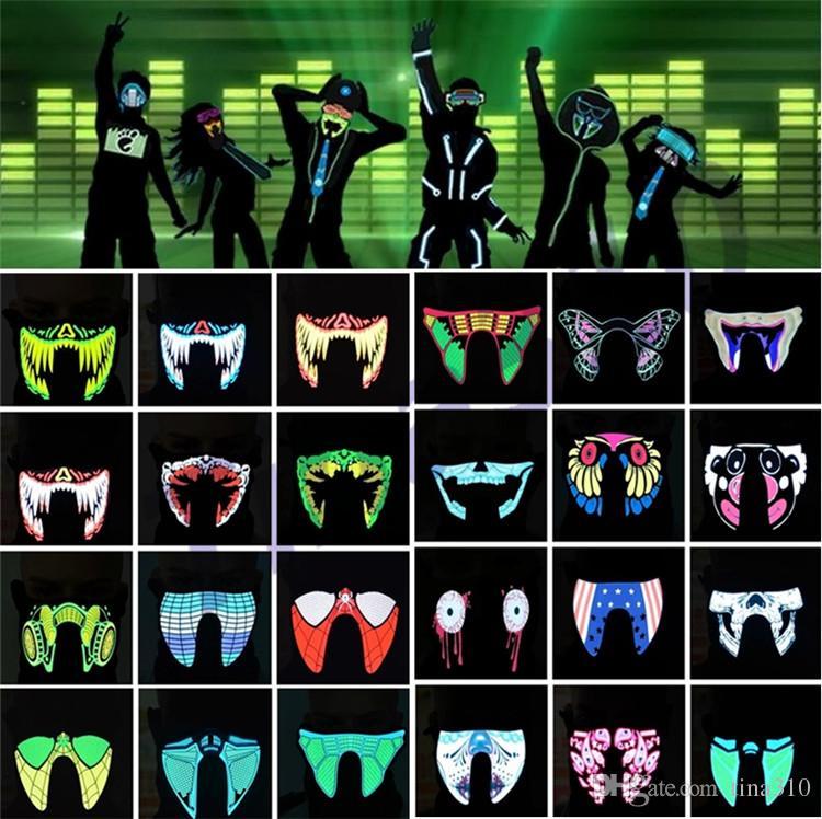 Nuovo impermeabile LED luminoso lampeggiante fredda maschera di protezione maschere partito maschere Light Up di ballo del costume di Halloween decorazioni partito di Cosplay SuppliesI318