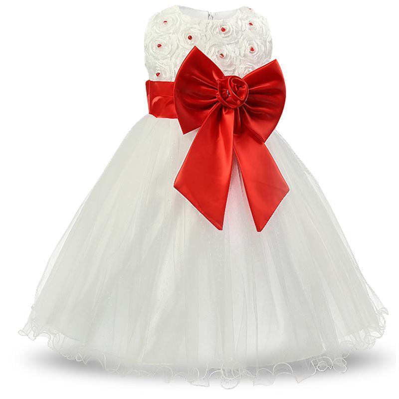 buy online a405e dbbb4 Acquista Principessa Bianca Della Ragazza Dei Bambini La Cerimonia Nuziale  Del Vestito Da Comunione Del Vestito Da Spettacolo Del Grande Arco Abito Da  ...