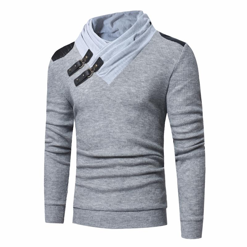 New Mens Turtleneck Sweaters Fashion Solid Color Leather Buckle Stitching Long Sleeves Slim Men's Design Knit Patchwork Pullover