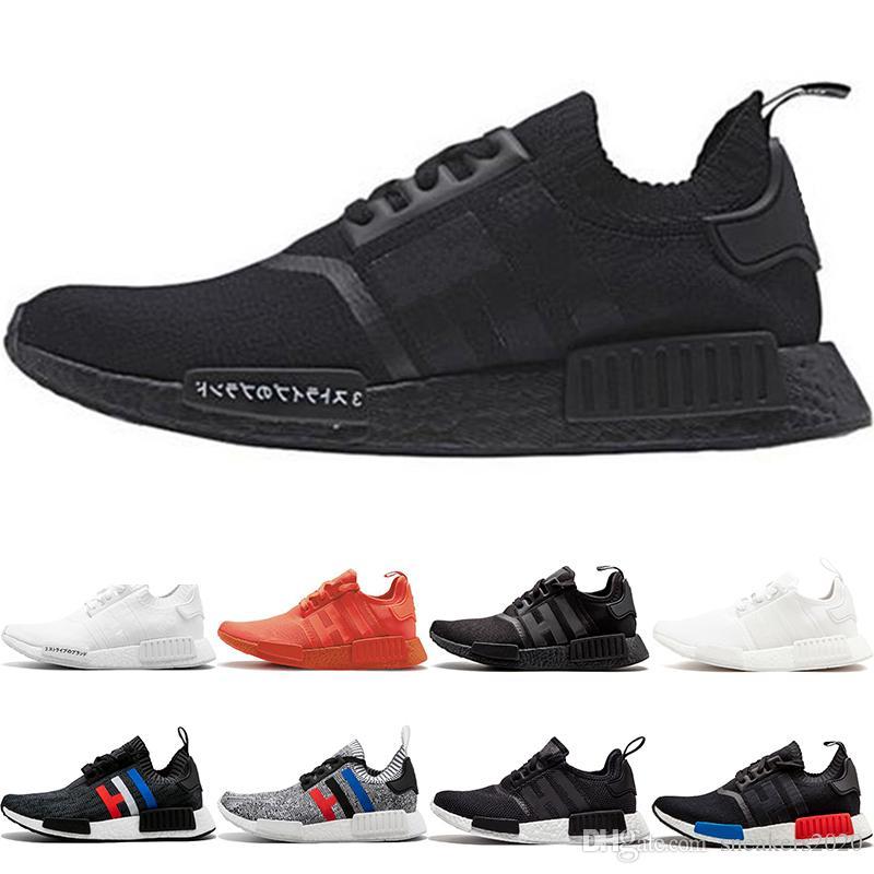 Wholesale NMD R1 Running Shoes OG Japan Triple black White Solar Red Oreo Men Women Designer Trainer Sport Sneaker Size 36-45 Free Shipping