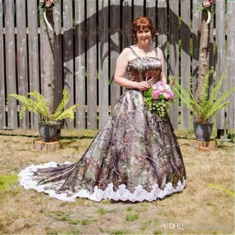 Discount Vintage 2017 Plus Size A Line Camo Wedding Dresses With Spaghetti  Strap Lace Appliques Summer Garden Country Bridal Gowns Wedding Dresses Buy  ...