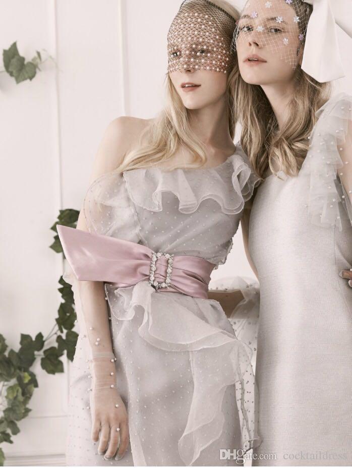 Verão Novo Design Tailândia Silver Grey Cor curto Ruffle vestido de festa de um ombro Ruffle Vestido Lady Dress Moda