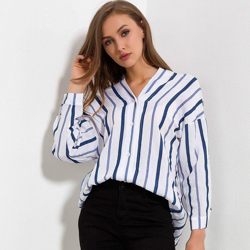 mejor sitio web 4e125 dd2b5 Compre Camisa A Rayas Mujer 2018 Otoño Nueva Llegada Escote En V Algodón  Blusas Casuales Damas Camisas De Manga Larga Sueltas Tops Y Blusas Para  Mujer ...