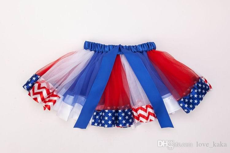 어린이 미국 국기 투투 드레스 새로운 어린이 신생아 레이스 공주 치마 Pettiskirt 프릴 발레 댄스웨어 독립 기념일 치마 의류