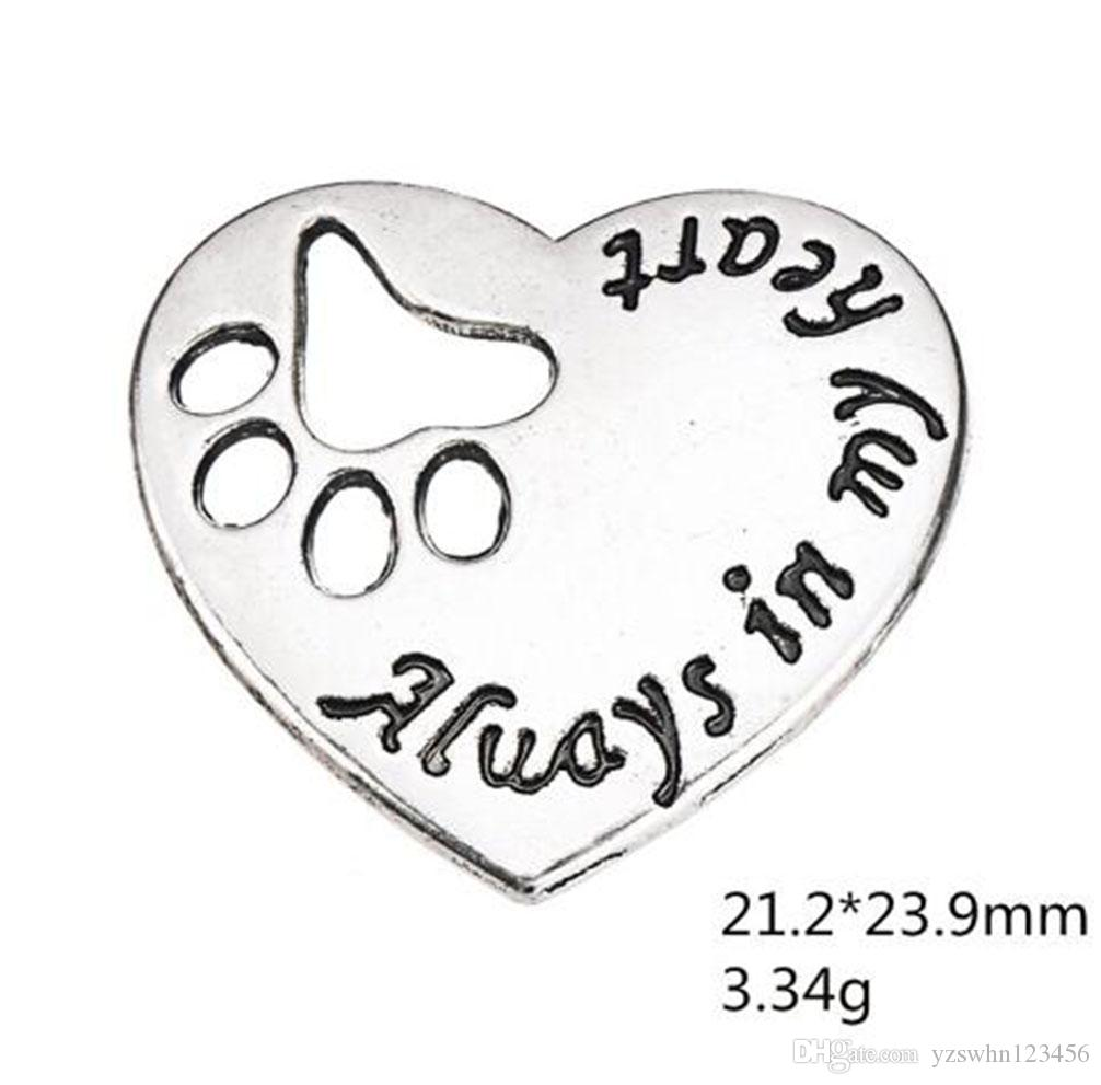 Dog Paw Cat Paw Print Hearts Charms Always In My Heart Love Pendants DIY Antique Silver Plated Jewelry