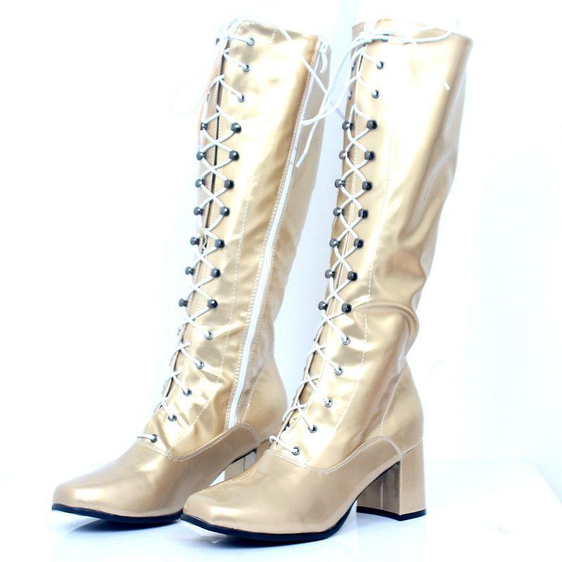 De punta cuadrada de Halloween Hasta la rodilla s Boot Moda PU cuero 60's 70's GO-GO Retro Chunky Heel Lace Up Zip Shoes para Unisex