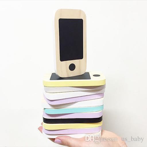 Telefone de madeira do Kid Brinquedos Crianças Nordic Início Figurines Miniatures precoce Mensagem Presentes Board Mobile Phone Quadro