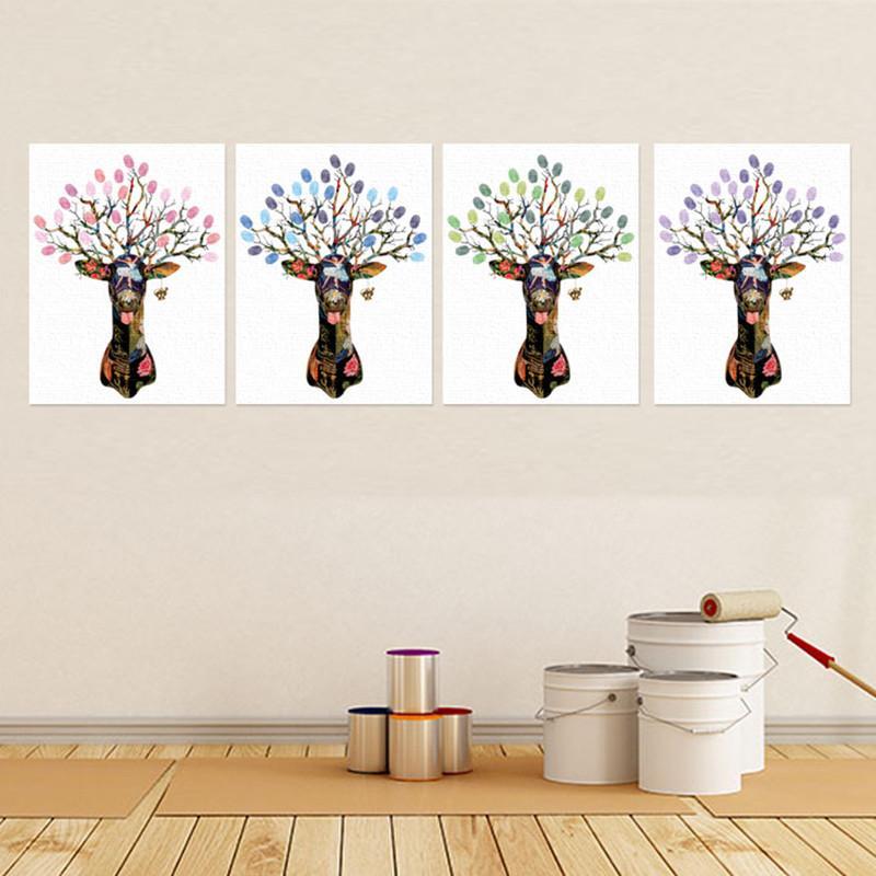 Alces de natal impressão Digital desenhar sinal da árvore de impressão digital em livros de assinatura de hóspedes Wedding GuestBook