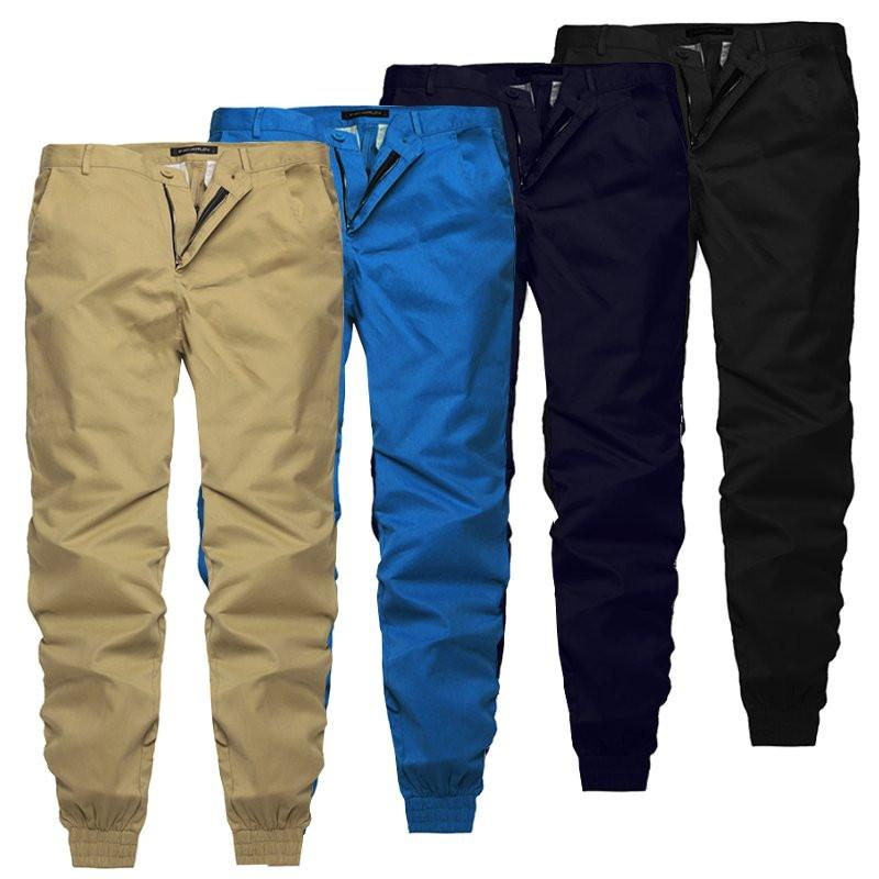 INCERUN 2018 Plain Pants Men Casual Chinos Trousers Joggers Slim Fit Man Chinos Pants With Elastic Cuff Brand Clothing Summer