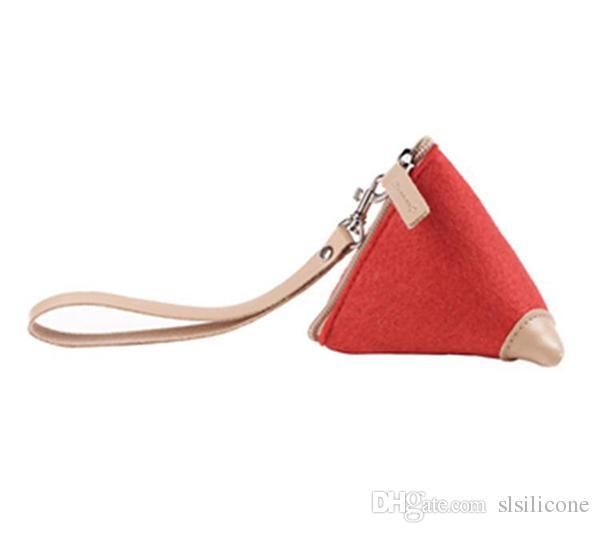 Wool Felt Triangle Coin Pouch with Wrist Strap Portable Samll Wallet Keys Case Card Money Holder Pocket Women Sundries Bag