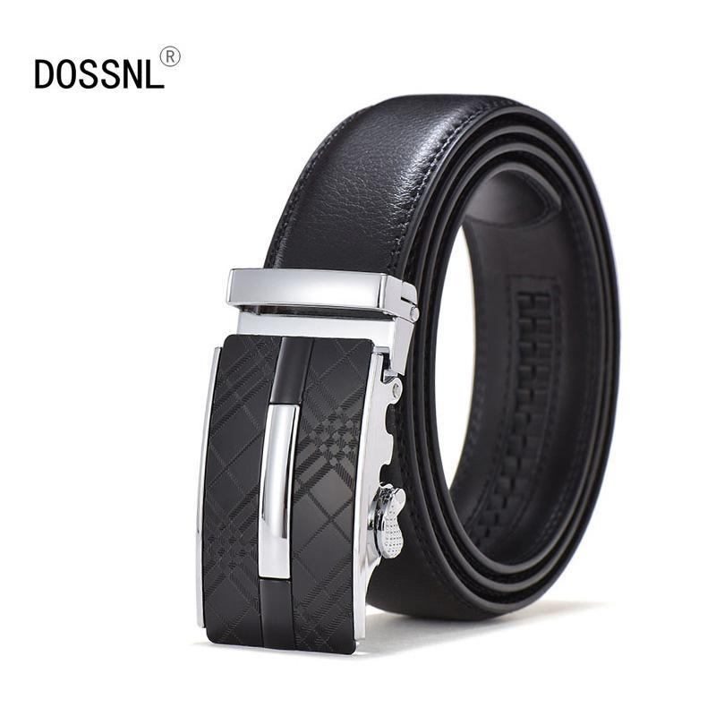 DOSSNL Men's Belt High Quality Cowhide Genuine Leather Belts For Men  Temperament Automatic Buckle Male Belts A054