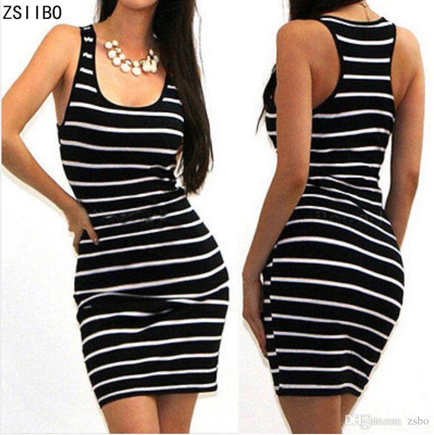 2018 Повседневная женская полосатая повязка Bodycon платье сексуальное тонкое без рукавов вечернее платье мини LYQ77 РФ