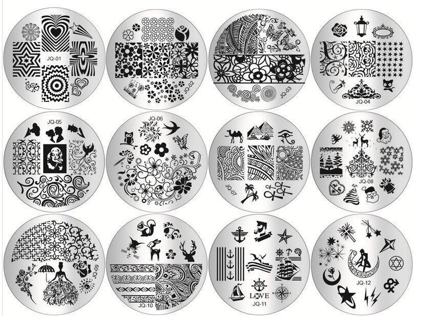 Оптовая 10 шт. / лот маникюр шаблон печати ногтей штамповка плиты DIY синий фильм ногтей печать штамповка трафарет
