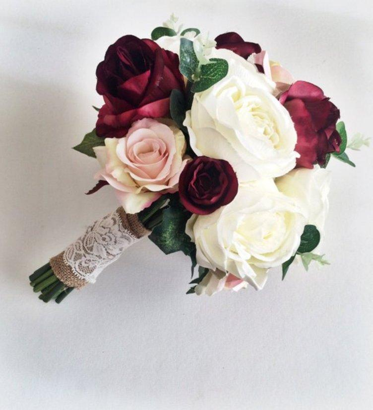 Düğün Buketi - İpek Düğün Çiçekleri Sonsuza Çiçekler Rustik Düğün
