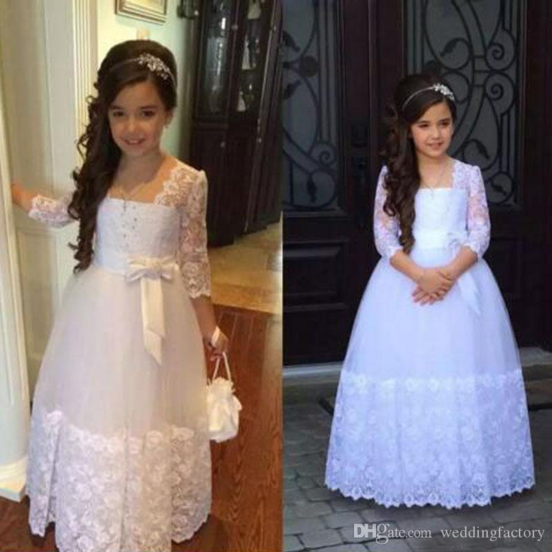 Junior Bridesmaids Dresses A Line Illusion Lace Sleeves Crystals Floor Length Flower Girl Dress with Lovely Bow Custom Made