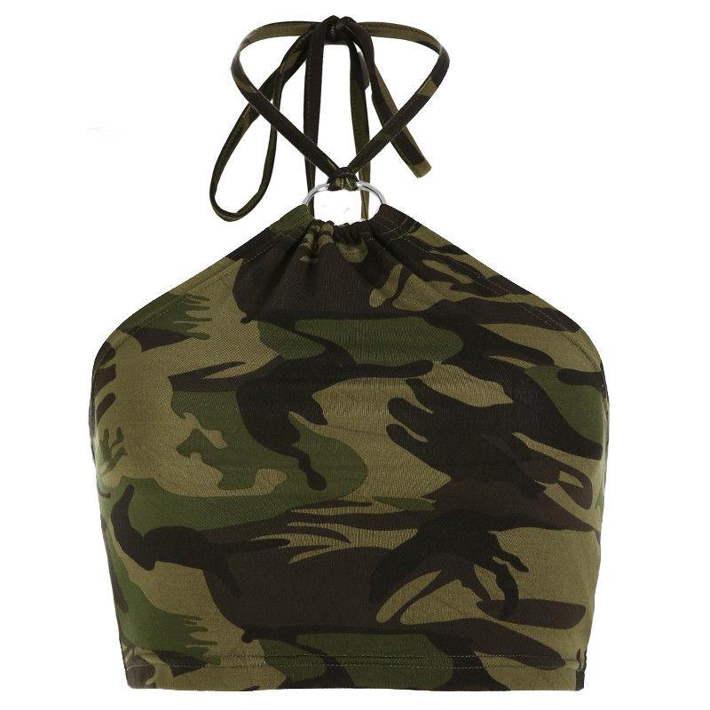 Women's Sleeveless Summer Bustier Crop Top Vest Casual Tank Tops Blouse T-Shirt Halter Fashion Camouflage