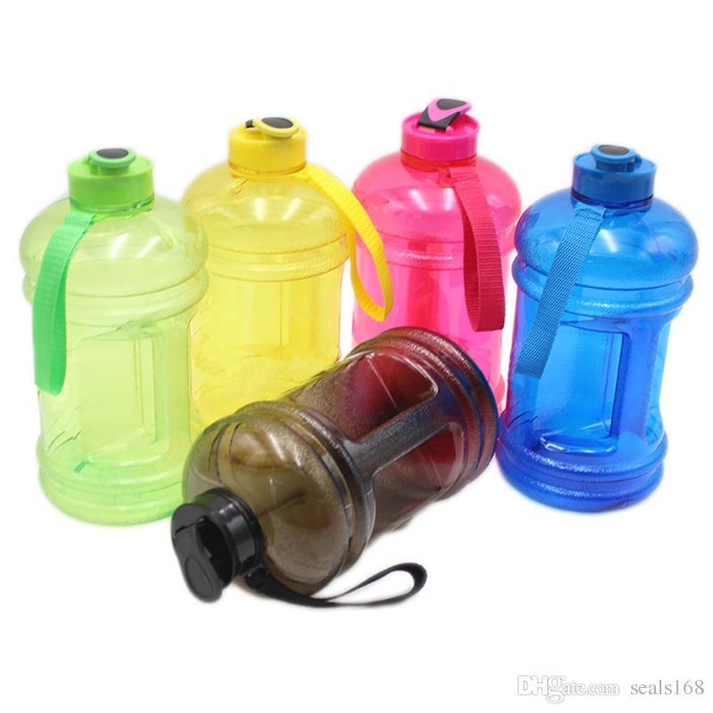 Botellas de agua de gran capacidad 2.2l Portátil Deportes al aire libre Gimnasio Entrenamiento Camping Corriente de plástico Botella de agua 5 Color HH7-1378