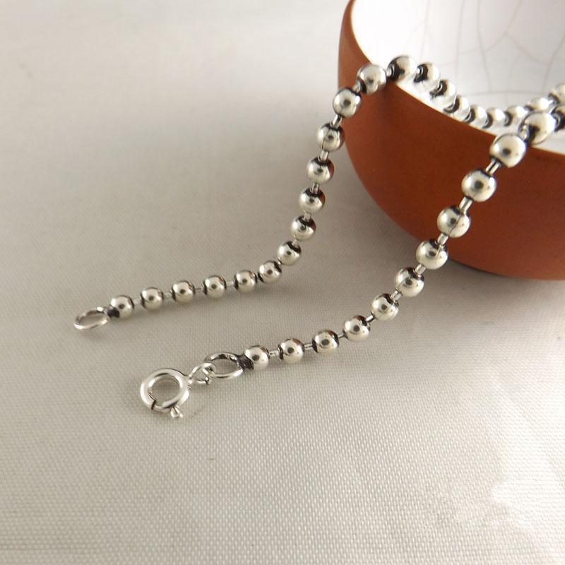 Plata maciza 925 Dia 3 mm Cadena de perlas para collar Hombres Mujeres 100% 925 Plata esterlina Accesorio de joyería 45/50/55/60/65/70 / 75cm