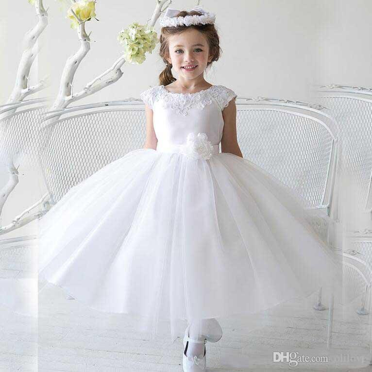 White First Communion Dress Flower Girls' Dresses for Wedding With A-Line Capped Short Sleeve Bow Sash Appliques Lace Beads Tea-Length