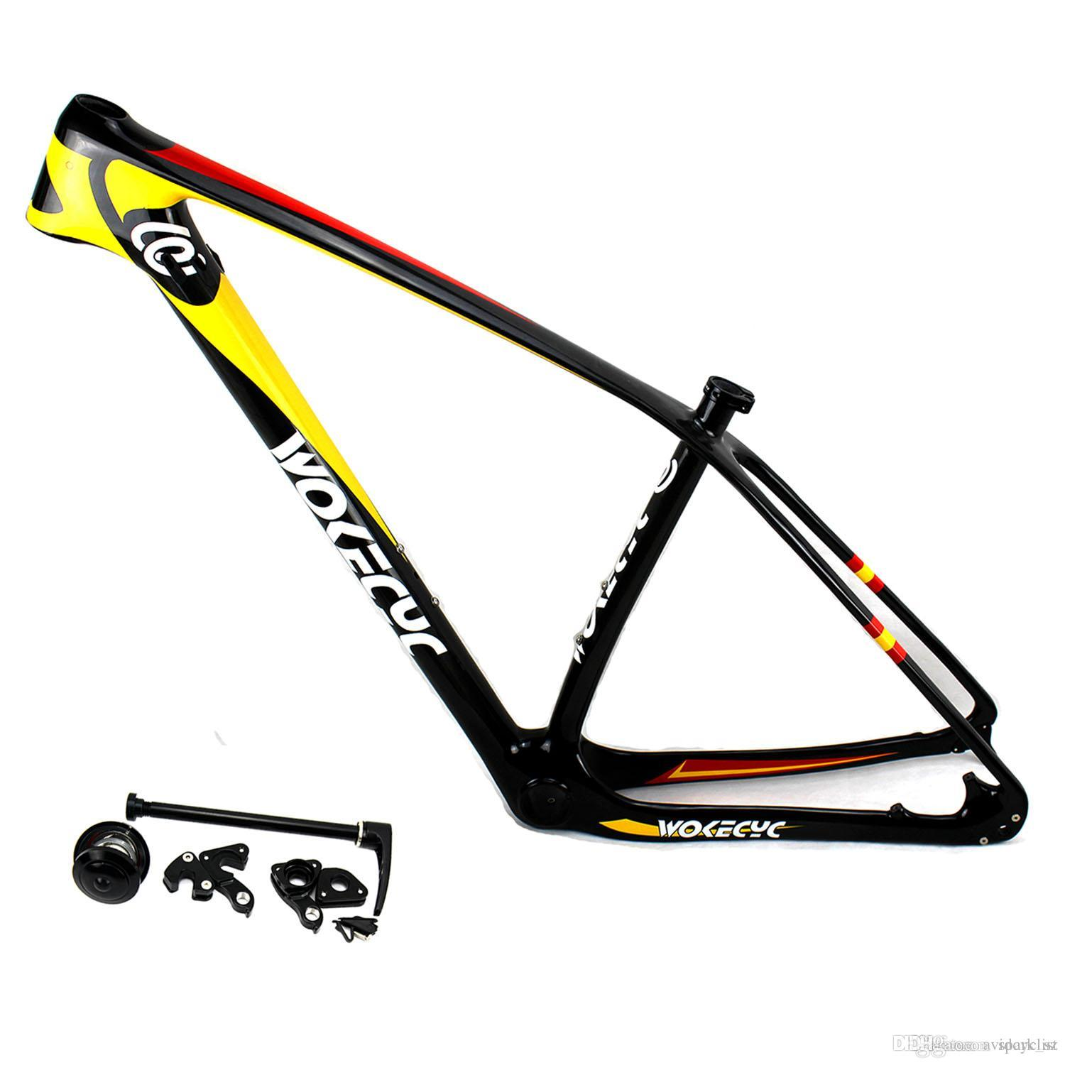 "MTB carbon bicycle frame 29er carbon mountain bike frame 29"" carbon bikes frameset compatible QR and thru axle"
