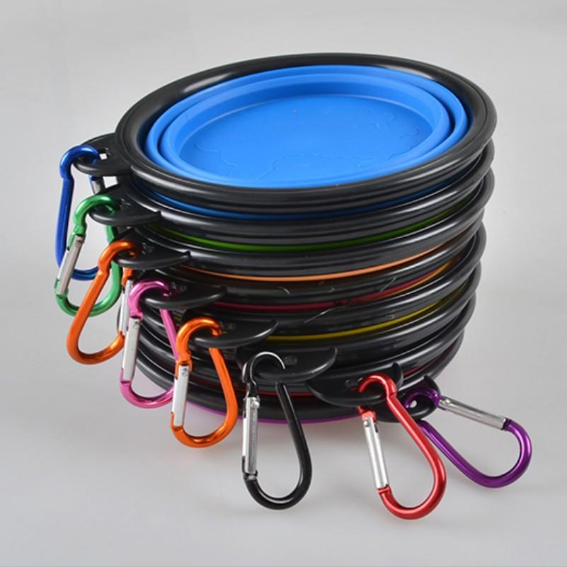 Les fabricants vendent pliage de boîte noire avec mousqueton silicone pliant bol chien bol bassin