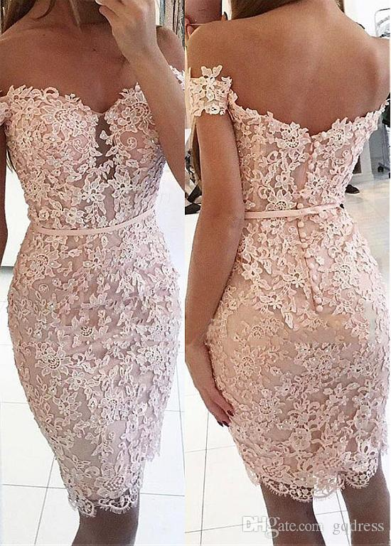 Buttons Lace Off The Shoulder Sexy Short Tight Homecoming Dress Backless Zipper Knee Length Beautiful Dresses Online Black Homecoming Dress From