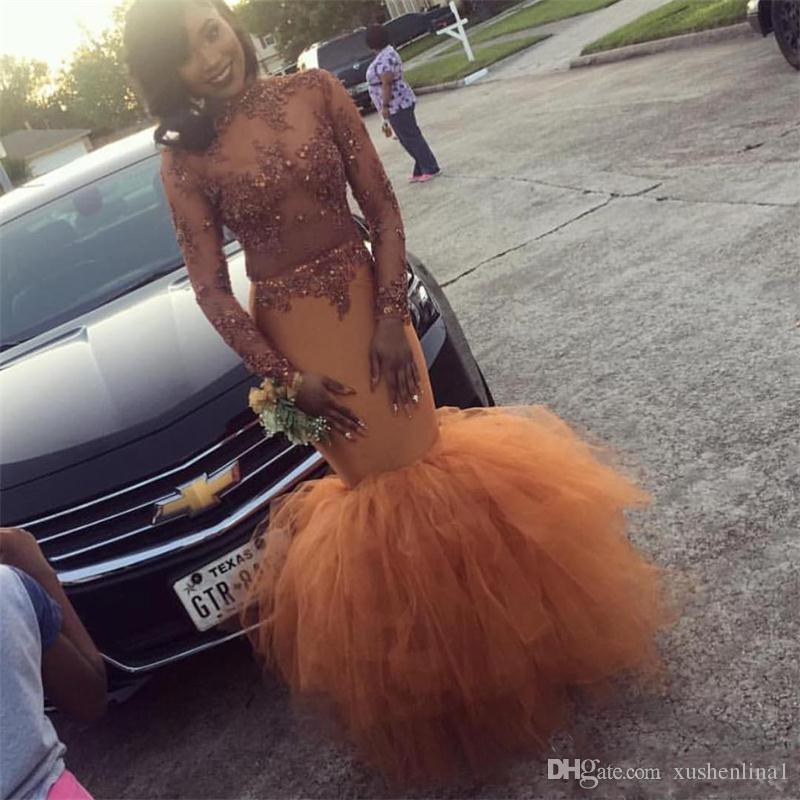 Blady Pomarańczowy Republika Południowej Afryki Syrenka Prom Sukienka Koronkowa Aplikacja Koraliki Z Długim Rękawem Arabski Suknie Wieczorowe Sexy See przez Black Girl Party Suknie