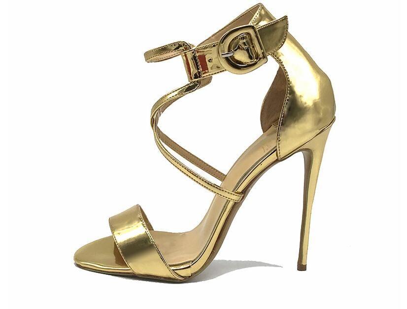 Freies Verschiffen 2019 neue Open-Zeh t-Bügel-Goldlackleder Fersen 12cm Frauen Dame sexy spitze Zehe Partei hochhackige Schuhe Wedding