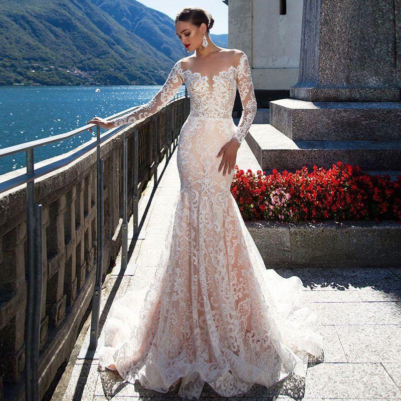 Mode de dentelle sirène de mariée Robes Sheer Neck pleine manches dos transparent château robe de mariage froncé Bas vestido de novia