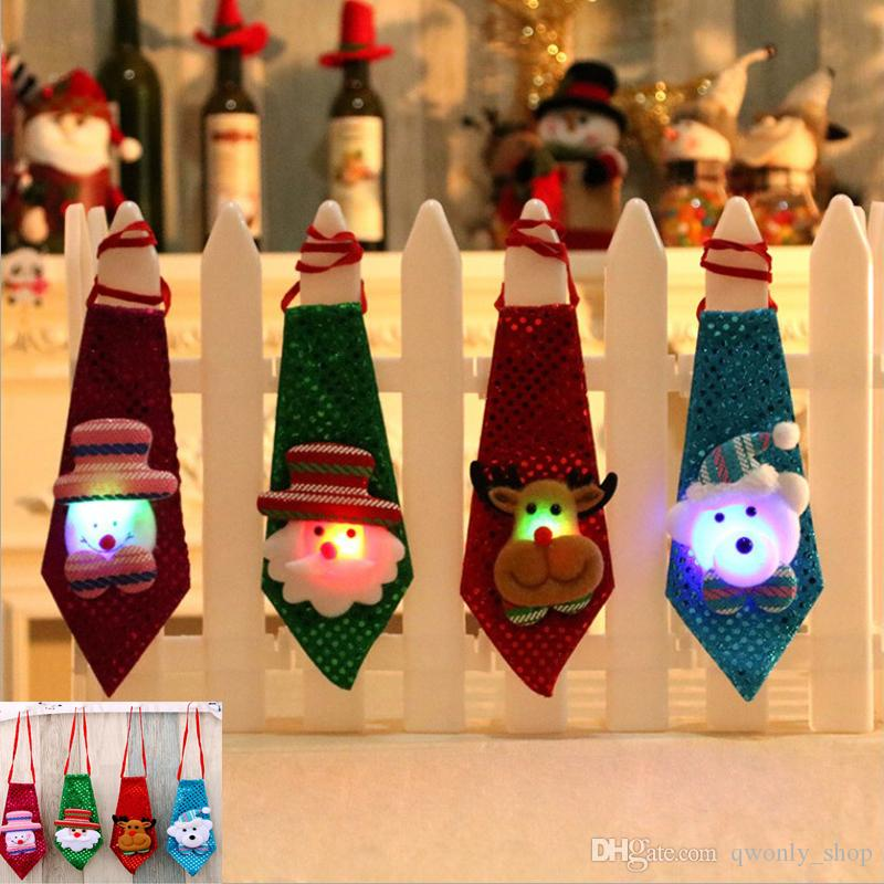 Led Luminous Necktie Christmas Tree Ornament Children Adult Creative Cartoon Santa Claus Snowman Deer Bear Fashion Party Sequins Tie