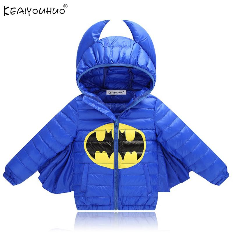 Spiderman Coat Batman Jacket 2018 New Autumn Winter Baby Boys Coats Warm Hooded Kids Down Jackets For Girls Outerwear