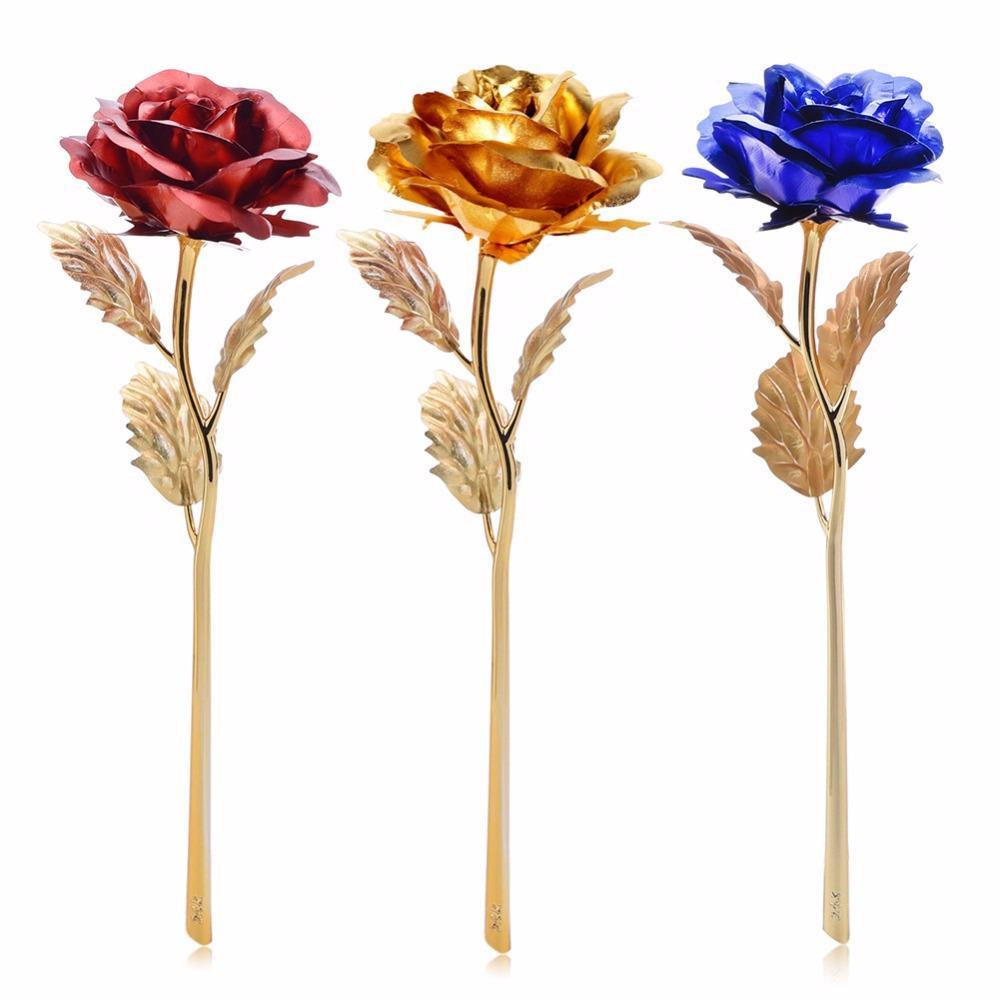 Ourwarm 24K Golden Rose Fleurs artificielles Party Wedding Favors Décoration Accueil Accessoires de table Halloween Décorations Nouveau