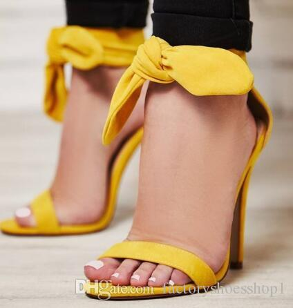 buy good factory authentic detailing 2018 Bright Yellow Ankle Strap Open Toe Women Sandals Butterfly Knot Lace  Up Cover Heel High Heel Wedding Sweet Rome Sandales Femmes Boys Sandals ...