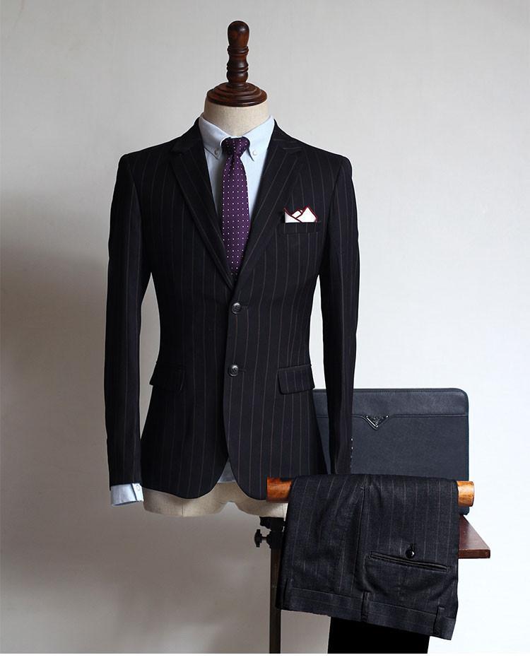 2017 Striped alta qualidade Único Breasted (jacket + pants) 2 Ternos Pieces Mens Custom Made melhores homens Ternos do casamento do noivo smoking
