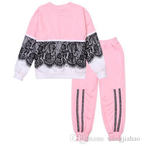 2018 Nowa Moda Dzieci Odzież Ustawia Dziewczyny Ubrania T Koszula + Spodnie 2 sztuk Zestaw Dzieci Dres Wiosna Jesień Sport Suit